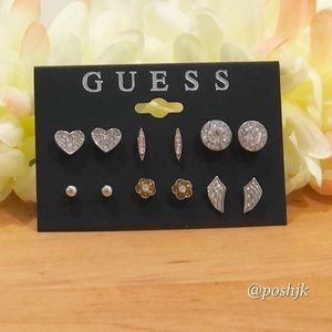 NWT Guess Earrings Six Pair Crystal Embellished
